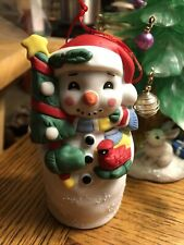 Vintage Midwest Imports Snowman In Santa Hat Holding Xmas Tree And Cardinal