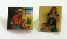 2 Vintage Lenticular Pins Buttons  Pin Up Girl  Cowboy / Western Scene