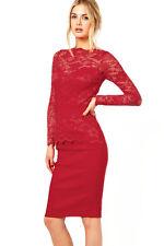 Graceful Red Lace Bodycon Fit Night Club Midi Dress Medium