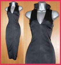 KAREN MILLEN Black Satin V Collar Neck Cocktail Party Wiggle Pencil Dress UK12