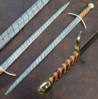 AWESOME HAND MADE DAMASCUS STEEL SWORD WITH ROSE WOOD & OLIVE WOOD HANDLE