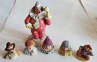 Rare Vintage 1985 Porcelain Enesco Clown 6 Piece lot.     (40)