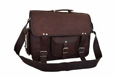 "18"" Vintage Leather Office Briefcase Laptop Satchel  Business Messenger Bag"