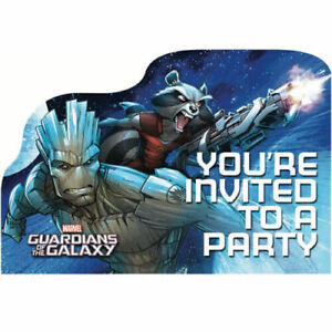 GUARDIANS OF THE GALAXY Cartoon INVITATIONS (8) ~ Birthday Party Supplies Cards