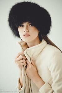 Fox Fur Hat Womens Winter Hats Ushanka Russian Trapper Hat Wit Suede (Black)