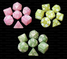 3 NEW Sets of 7 Polyhedral Dice - Pink Yellow Green Marble - 3 Matching Bags