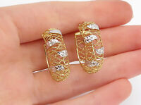 925 Sterling Silver - Shiny Etched Two Tone Rope Twist Hoop Earrings - E9108