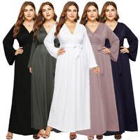 Women Ladies Elegant V-Neck Long Sleeve Party Evening Long Maxi Dress Plus Size