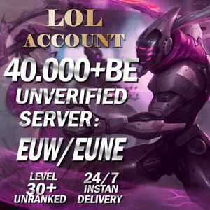 League of Legends Account EUW EUNE LOL Smurf 40000-50000 BE IP Level 30 Unranked