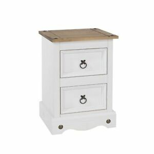 White Corona Pine Bedside Cabinet 2 Drawer Bedroom Side Table Waxed  Seconds