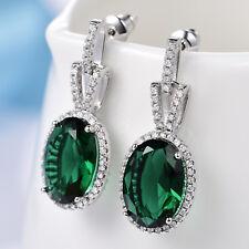 Luxury Oval Emerald Crystal Silver Gold Filled Women Lady Dangle Stud Earrings