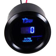 "2"" 52mm Car Motor Blue LED Light Digital Vacuum Gauge Meter Black Cover"