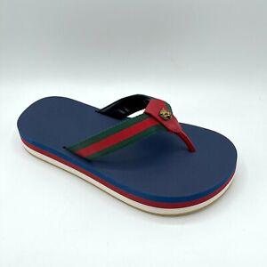 Gucci Men's Blue Flip Flop GRG Web Platform Sandal 8G / US 8.5 573783 8482