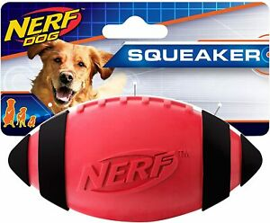 Nerf Dog Toy Squeaky Rubber Football Durable Medium / Large Breeds