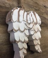 Carved Wooden White Chunky Angel Wings Christmas Tree Decoration 5071