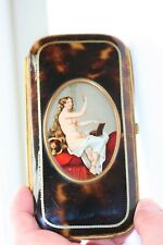EROTIC HAND PAINTED SHELL SPECTACLES CIGAR  CASE ETUI ,GOLD INLAY , GUSSETTED