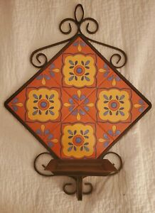 PARTYLITE MOROCCAN STYLE TILE & BROWN METAL WALL CANDLE HOLDER SHELF HANGING