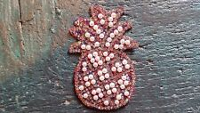 Patch Ananas Obst  Exotisch mit Strasssteinen weiße Perlen Bügelbild