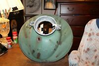 "Antique Green Porcelain 18"" Light Lamp Shade Enamel Gas Station Industrial Farm"