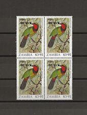 ZAMBIA 1989 SG593 Variety MNH Block