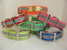 """REFLECTIVE Dog Collar 21"""" Ring in center FREE Name Plate Tracking collar pet id"""