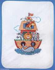 "Noah's Ark Cot Quilt Stamped Cross Stitch Kit - 34"" x 43"""