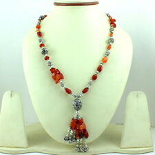NECKLACE NATURAL RED CARNELIAN GEMSTONE BEADED HANDMADE 54 GRAMS