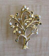 & Faux Pearl Tree Brooch Beautiful Vintage Gold Toned Rhinestone