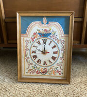 Vintage Cross Stitch Working Clock W/ Handmade Glass Wooden Frame Opens