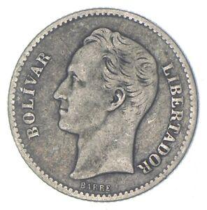 Roughly the Size of a Quarter 1935 Venezuela 1 Bolivar World Silver Coin *301