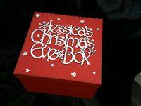 Personalised Christmas Eve Box large wooden 30cm x30cm x20cm Xmas