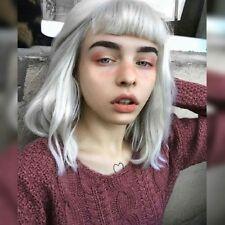 Girl Harajuku Lolita Wig Smoke Grey Full Curly Hair Short Wavy Cosplay Halloween