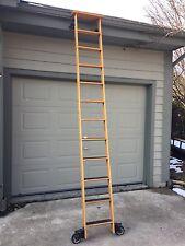 "Cotterman Oak Library Ladder Cast Iron Hardware 10' Ft 16"" Wide"