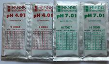 4 HANNA PH CALIBRATION BUFFER SOLUTION SACHETS 2 x 4.01 pH PLUS 2 x 7.01pH