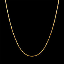 "Luxurious 0.5mm Solid Gold Necklace 20"" inch Men Women Chain Stylish Hot"
