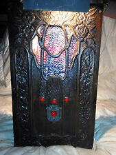 """Radio Antique Wall Lamp with Stained Glass 1920's """"Laws of Universe Broke Ir_n"""""""