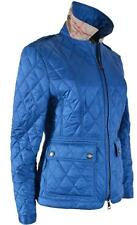 New Burberry Brit Women's Ivymoore $595 Blue Quilted Zip Front Nova Check Jacket