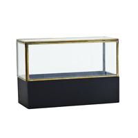 Madam Stoltz Dekorativer Glaskasten mit Holzsockel  L: 26cm x B: 11cm x H: 17 cm