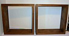 Set of 2 Wooden Wall Mounted Floating Shelf Display Rack Square Dark Wood 12x12