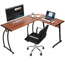 L Shaped Desk Corner Computer Gaming Laptop Table Workstation Home Office Walnut