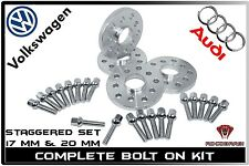 4PC 17 MM & 20 MM STAGGERED AUDI & VW 5X100 5X112 57.1 HUB CENTRIC WHEEL SPACERS