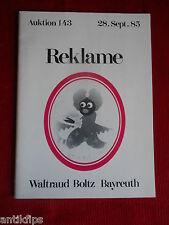Auktionskatalog Emailschilder Waltraud Boltz Bayreuth 28.09.1985