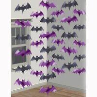 6x Halloween Purple Vampire Bats Foil 7ft String Party Hanging Decorations