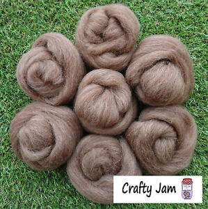 Needle/Wet Felting Natural Brown Wool/Roving, for 3D Projects + Spinning 46.6g