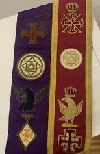 More details for 2 x vintage masonic sashes red grand officer red cross of constantine +1 other