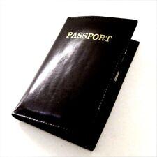 BLACK PASSPORT COVER Travel Genuine Leather Credit Card Holder Wallet