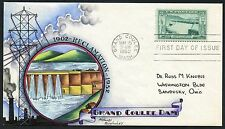 "#1009 ""GRAND COULEE DAM"" ON KNAPP HANDPAINTED FIRST DAY COVER CACHET BT8296"