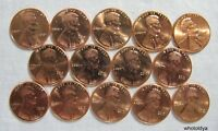 2010-P Lincoln Pennies Lot of 14 RED CENTS FROM UNCIRCULATED ROLLS whotoldya