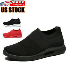 Men's Slip On Shoes Casual Breathable Lightweight Tennis Running Sneakers Gym US
