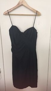 Foley Corinna Navy Spaghetti Strap Sexy Ruched Cocktail Dress Sz M Silk Blend